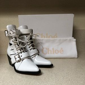 Chloe Rylee Caged Pointy Toe Boot White 37.5 / 7.5